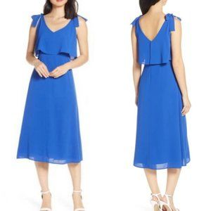 Charles Henry XL Tie Shoulder Popover Midi Dress